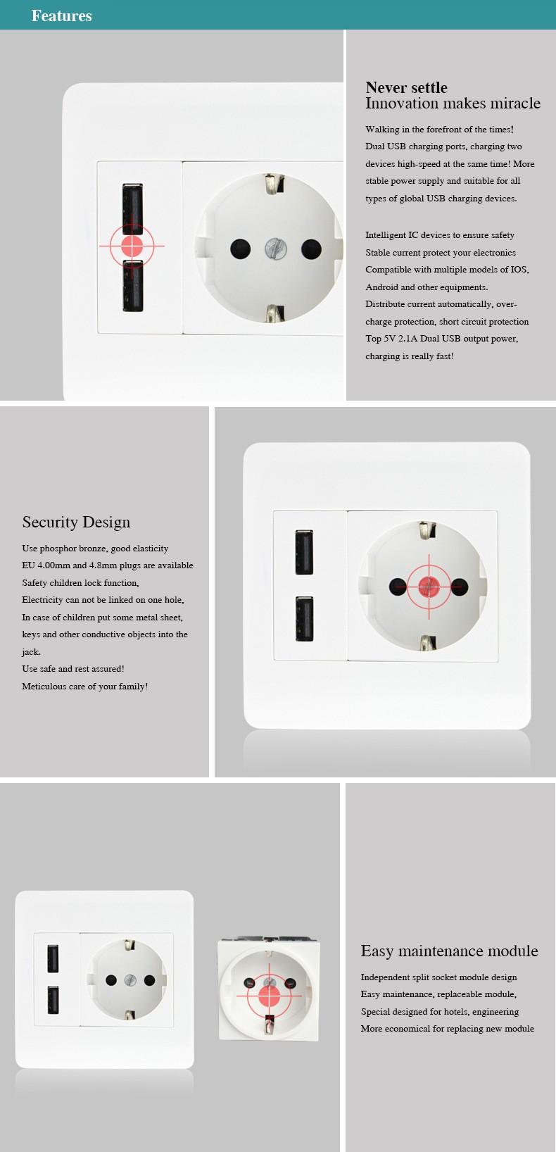 5pcs Universal Wall Socket Dual 2 USB Plug Switch Power Supply Plate ...