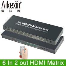 Aikexin 4 К HDMI матричный 6×2 Переключатель HDMI Splitter 6 Вход 2 выходной HDMI1.4 Video Splitter Поддержка оптический /аудио экстрактор для DVD