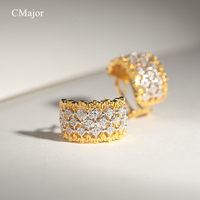 Cmajor Sterling Silver Shinning Square CZ Stud Earrings Vintage Palace Hollow Earrings For Women