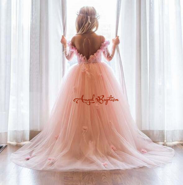 3d flowers Blush pink off the shoulder with long train flower girl dress backless princess birthday party gown for photoshoot pink lace details backless off the shoulder long sleeves mini dress