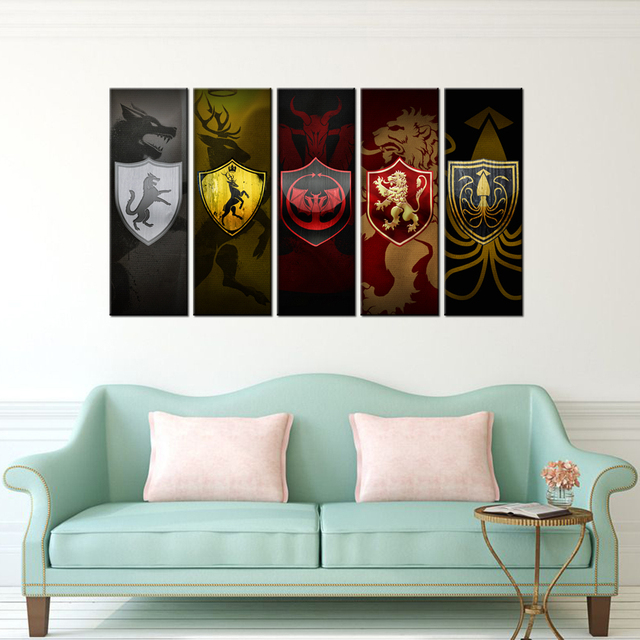 Contemporary Art Abstract Paintings 5 Panel Game Of Thrones Logo Poster Artworks Custom Prints Home Decor Canvas Mural Wall Art