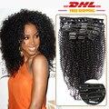 Афро-Американской Зажим В Человеческих Волос Девы Бразильский Волос Afro Kinky Вьющиеся Человеческих Волос Клип Ins Целую Голову 120 г 9 Шт.