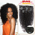 African American Clip In Human Hair Extensions Virgin Brazilian Hair Afro Kinky Curly Human Hair Clip Ins Full Head 120g 9Pcs