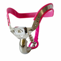Arc Stainless steel male chastity belt with anal plug cock cage metal chastity dick lock CB6000S penis cage adjustable pants.