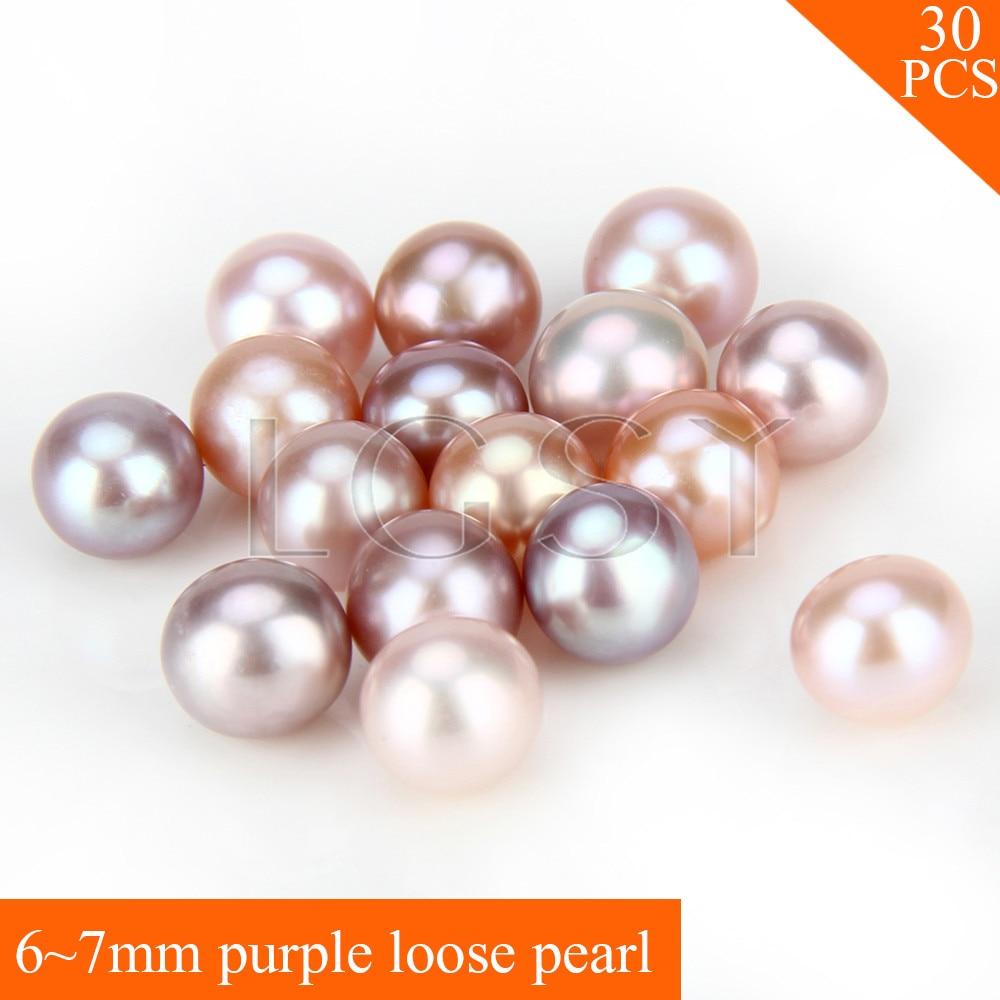FREE SHIPPING, 6-7mm AAA purple saltwater round akoya pearls 30pcs цена