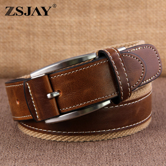 [AETRENDS] 2016 New Brand Canvas Leather Belt Fashion Designer Belts Men High Quality with Box Packing Girdle Waistband Z-2400