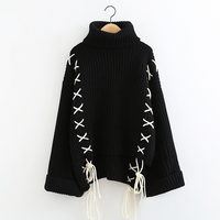 2018 Winter New Pattern Japanese Bandage Sweater High Lead Casual Pullover Woman