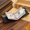 Marca de lujo de Cuero Genuino de Los Hombres Monedero de La Cartera Hold Factura Con el Varón delgado Pinza De Clip de Dinero de Metal Sostenedor Del Efectivo de la Tarjeta de Crédito de Bolsillo