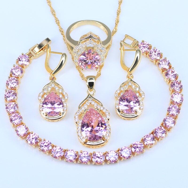 L & B הטוב ביותר מתנת יום נישואים זהב לבן נסיכת צבע קריסטל ורוד זירקון צמיד סט תכשיטי חתונה לנשים