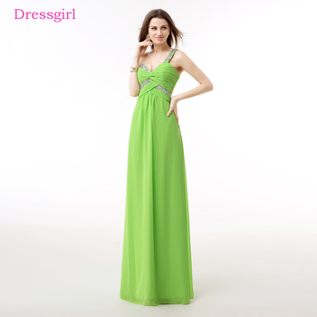 c5abd6ff0367f30 Зеленый Вечерние платья 2017 A-Line одно плечо шифон бисером кристаллы  элегантный длинное вечернее платье для выпускного вечера; Robe De Soiree