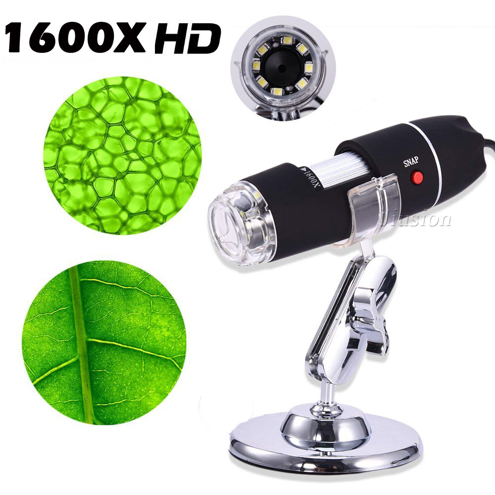 40 to 1600x Magnification Endoscope 3-in-1 USB Digital Microscope with OTG Function,USB Digital Zoom Microscope Magnifier 8 LED USB 2.0 Digital Microscope with Stand