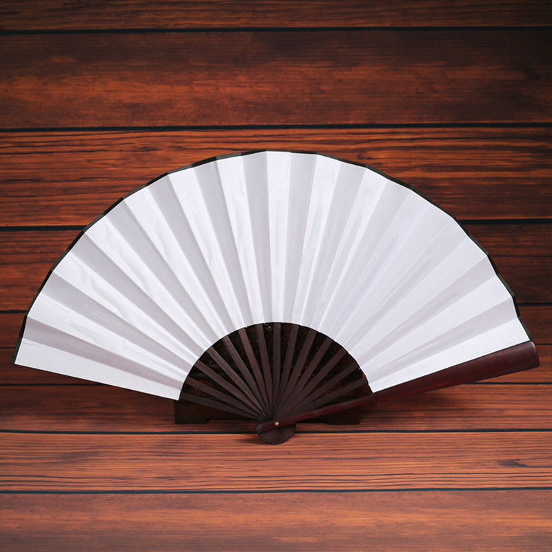 1 Pc  33cm Fan Men Folding Bamboo Blank Black Fan Wedding Party Gift Hand Fans Collection