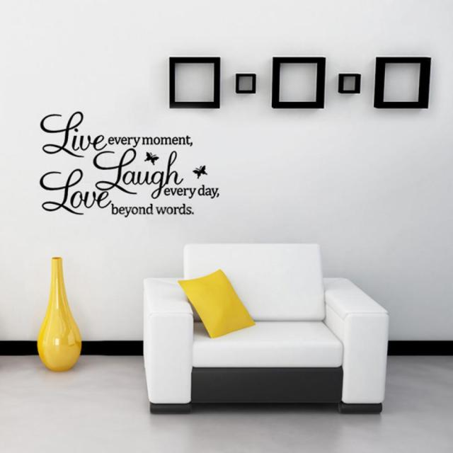 1 Pc Home Decor Papier Stickers Muraux Live Laugh Love Vinyle Décoration Citation Amovible Bricolage Papiers