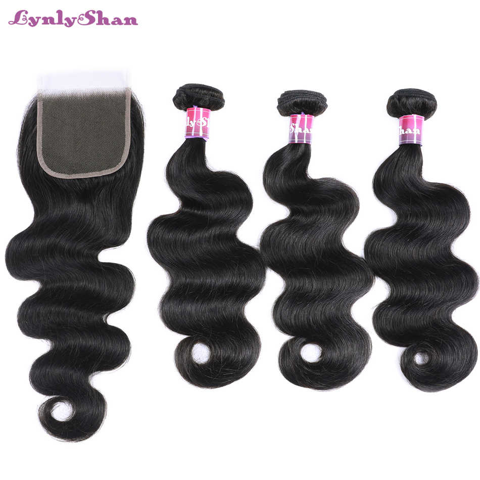 Lynlyshan Hair 3 Bundles Brazilian Body Wave Hair With Closure 4*4 Free Part 100% Remy Human Hair Extension Natural Color