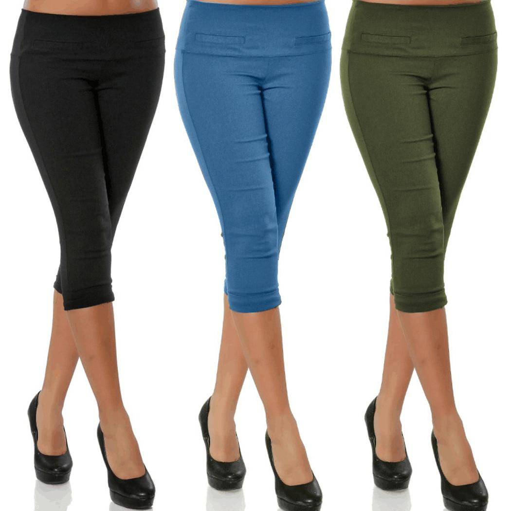 Cropped Pants Capris Pencil Stretch Trousers Elastic-Waist Skinny Plus-Size Women 4XL
