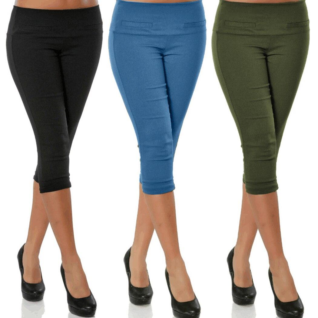 4XL Plus Size Women 3/4 Length   Pants   Fashion Elastic Waist Skinny Cropped   Pants   Female Stretch Trousers Pencil   Capris   Pantalon