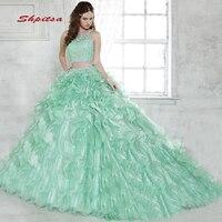 Роскошные Зеленая мята Пышное платье Сладкие 16 принцесса два 2 шт бальное платье со стразами платье для выпускного для 15 лет