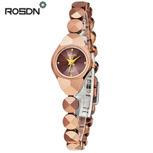 ROSDN Quartz Watches Steel Round Shock Resistant Luxury Women Watch Famous Top Brand Fashion Design Bracelet Ladies Dress Clock