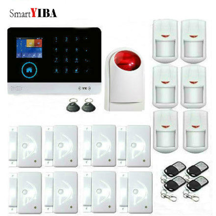 SmartYIBA RFID WIFI Wireless GSM Alarm APP Control Strobe Siren PIR Motion Detector, Door Alarm Sensor, Remote Controller Kits jn 121143