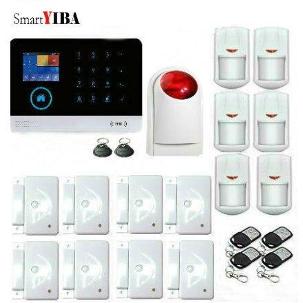 SmartYIBA RFID WIFI Wireless GSM Alarm APP Control Strobe Siren PIR Motion Detector, Door Alarm Sensor, Remote Controller Kits