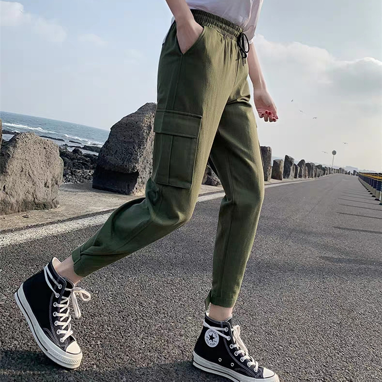 2019 Streetwear Cargo Pants Women Casual Joggers Black High Waist Loose Female Trousers Style Ladies Pants Capri Straight pants