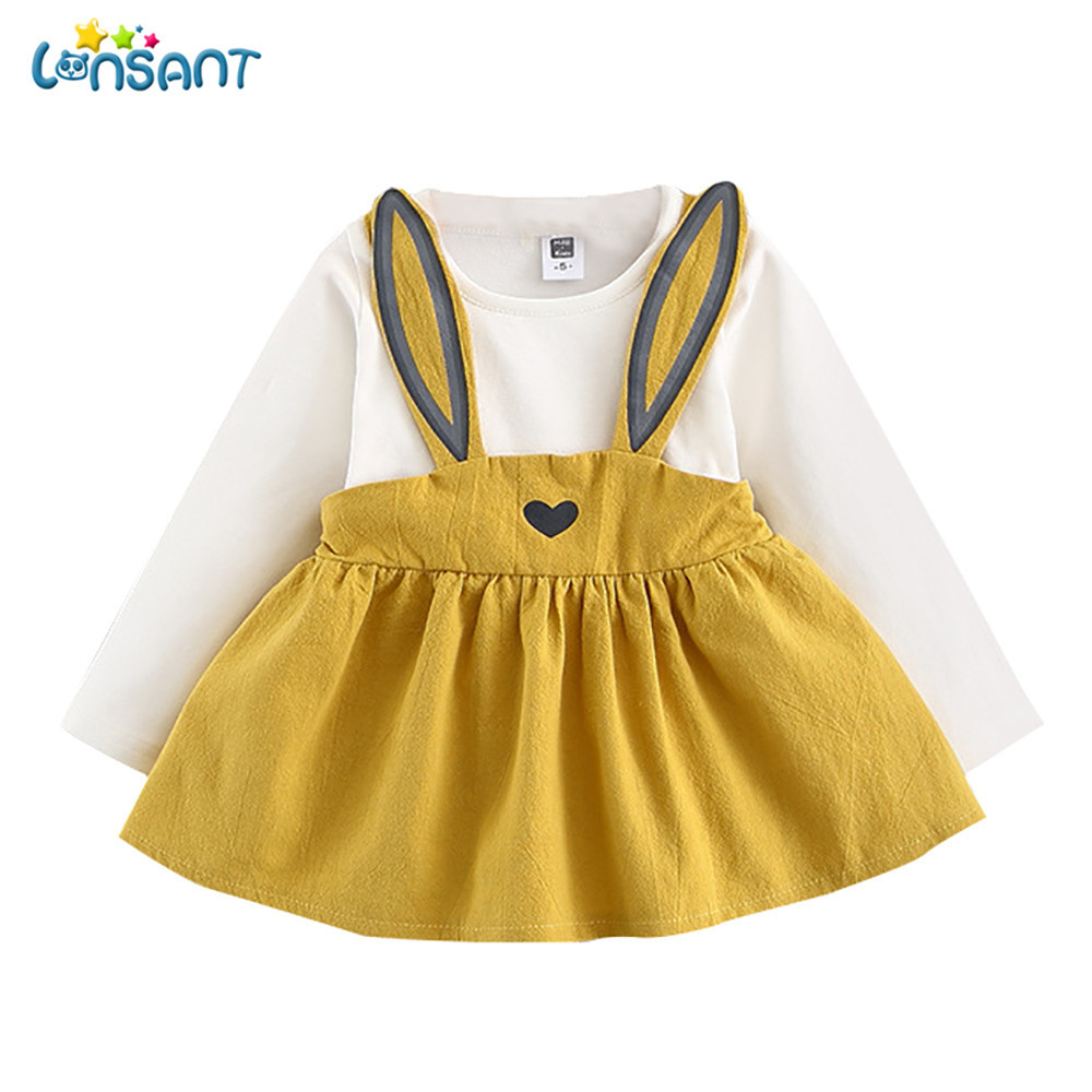 LONSANT 2018 New Hot cute 0-3 Years Old Autumn Baby Kids Toddler Girls Cute Heart-shaped Rabbit Bandage Suit Mini Girl Dress
