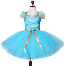 Jasmine Inspired Girls Tutu Dress Turquoise Blue Children Birthday Party for Kids Girl Halloween Aladdin Princess Costume