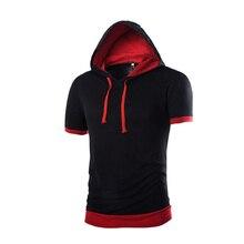 2017 Summer Hooded t shirt men Casual Sling Short Sleeve Tees Tops  Male Slim Tops T-Shirt Pullover Men Brand Clothing