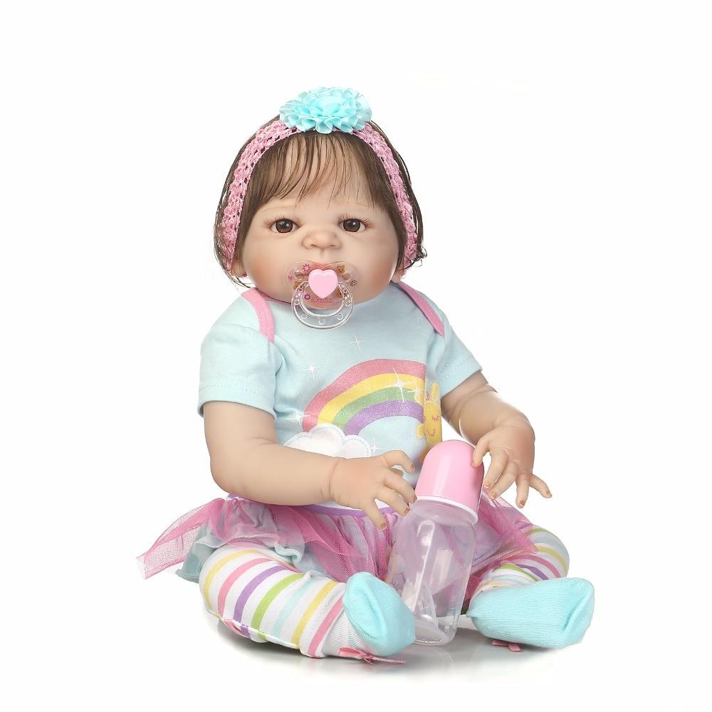 55 см всего тела силикона Reborn Baby Doll игрушки, реалистичные 22 дюймов новорожденных принцесса для маленьких девочек младенцев кукла прекрасный ...