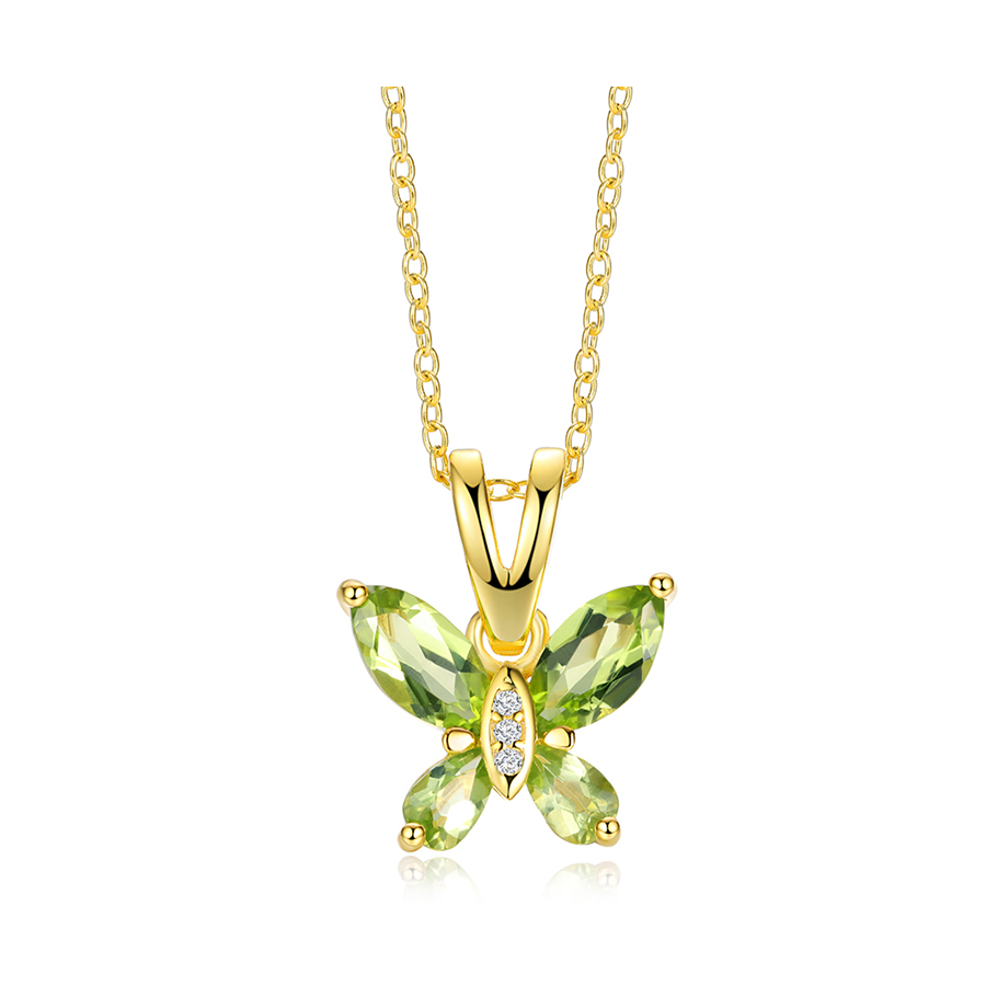 Natural Peridot Gemstone Butterfly Shape 925 Sterling Silver Pendant With Chain