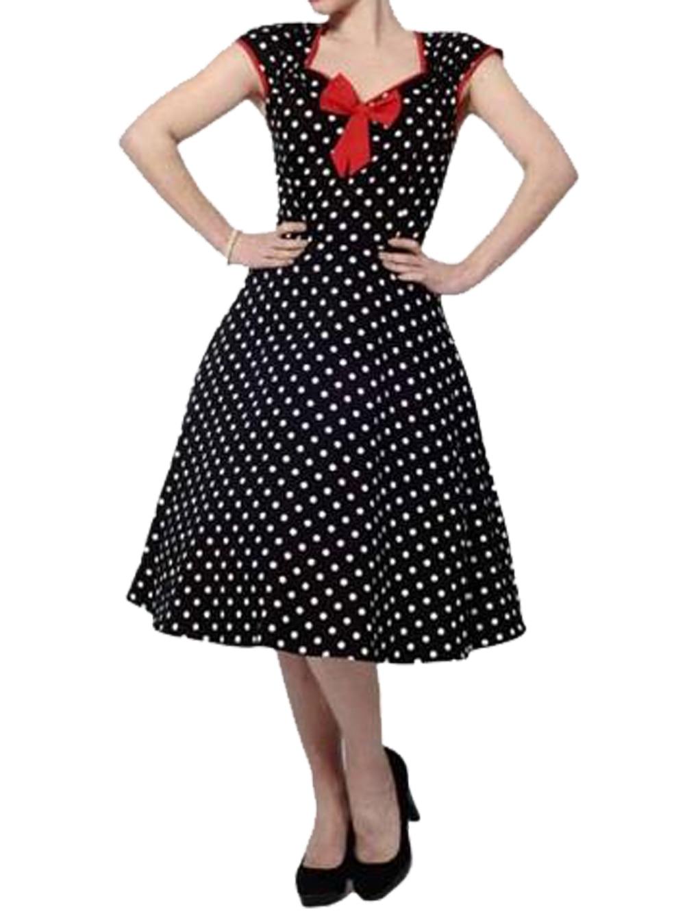 Cap Sleeve Dress Polka Dot Print Vintage 60s 50s Rockability Swing