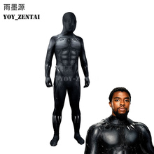 YOY-ZENTAI High Quality 2018 Black Panther Costume New Black Panther Cosplay Costume Fullbody Zentai Suit For Man