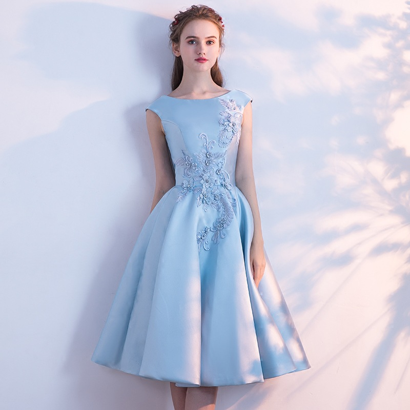 Banquet   Evening     Dresses   2019 New Blue Mid-long Student Birthday Party   Dresses   Appliques Flower Prom   Dress