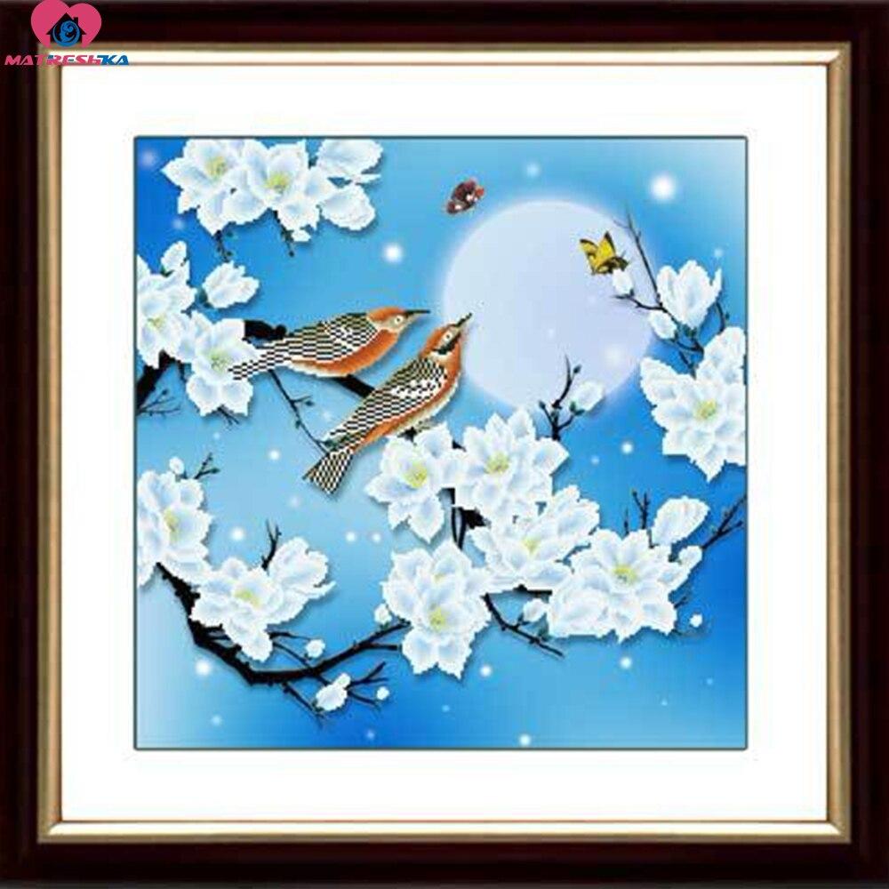 46 cm x 46 cm 3D beadwork set blume vogel Chinesische malerei serie 11CT zählen Genaue gedruckt stoff kreuz stich perle stickerei-in Stickerei aus Heim und Garten bei  Gruppe 1