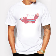 Summer Men T Shirts F Is For Fox Top Tees Swag Short Sleeve 100% Cotton T-shirt O-Neck Casual Print Tshirt Plus Size