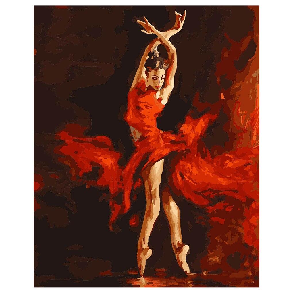 ¡ Caliente! sin marco pintura by números en lino diy pintura al óleo digital de decoración del hogar pintura mural bailarina de fuego(China (Mainland))