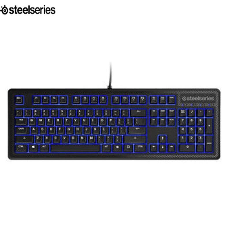 SteelSeries Apex 100 Gaming Keyboard-Tactile & Silent-Blue LED Backlit -Splash Resistant-Media Controls Official Certification steelseries apex m400 blue edition game machine keyboard black