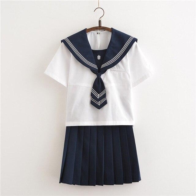 c5d30f5f4b Hot Schoolgirl Uniforms Short Sleeve Shirt Pleated Skirt Tie Sets Japanese  Korean School Uniform Cosplay Student Jk Sailor Suit