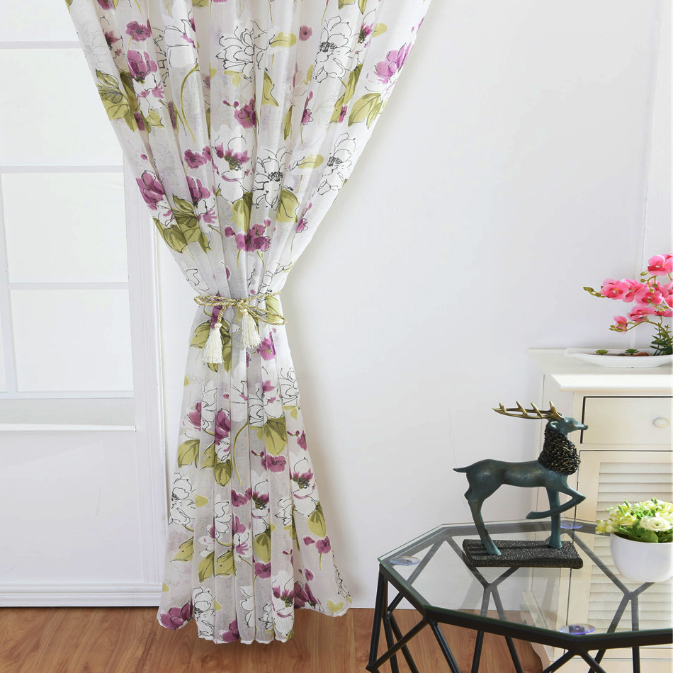 Traditional Curtains Us 16 2018 Traditional Chinese Painting Sheers Tropical Floral Print Semi Curtains Ink Lotus Printed Flower Curtains Para Bedroom 1pc In Curtains