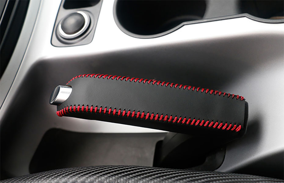 Genuine Leather Hand Brake Cover Protective Sleeve For Ford Mondeo Mk4 2007-2012 Black (Red line Stitching)