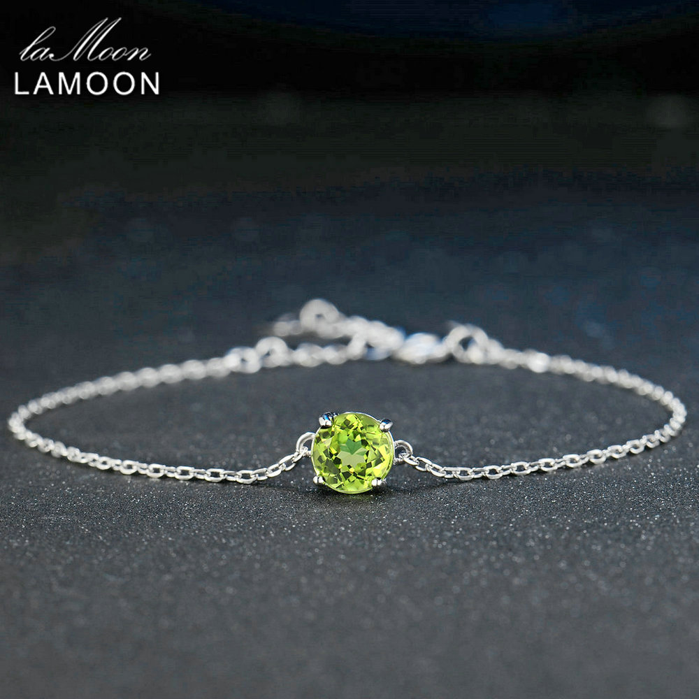 Lamoon 7mm Natural Round Cut Peridot 925 Sterling Silver Jewelry  Chain Charm Bracelet S925 LMHI039Lamoon 7mm Natural Round Cut Peridot 925 Sterling Silver Jewelry  Chain Charm Bracelet S925 LMHI039