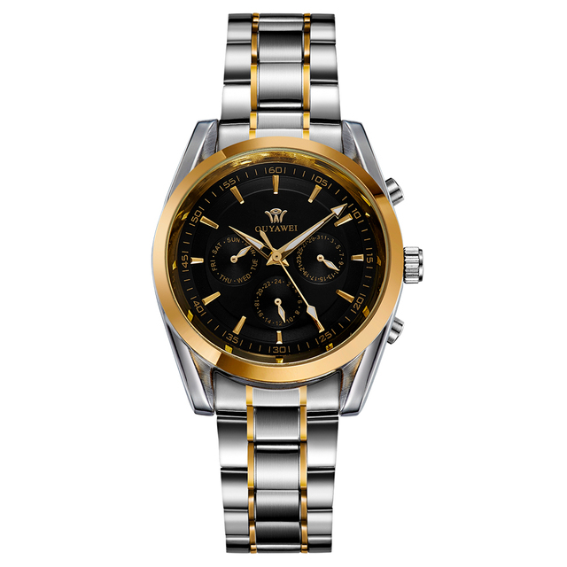 Ouyawei Metal Business Automatic Mechanical Auto Date Watches Men Clock Top Brand luxury Gold Watch Relogio Automatico Masculino
