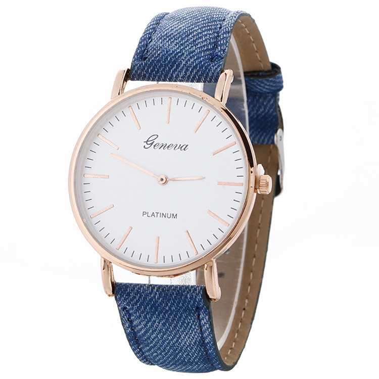 2017 Mode Frauen Armband Uhr Genf Berühmte Marke Damen Denim Stoff Rose Gold Quarz-armbanduhr Uhr Frauen Uhren Mujer