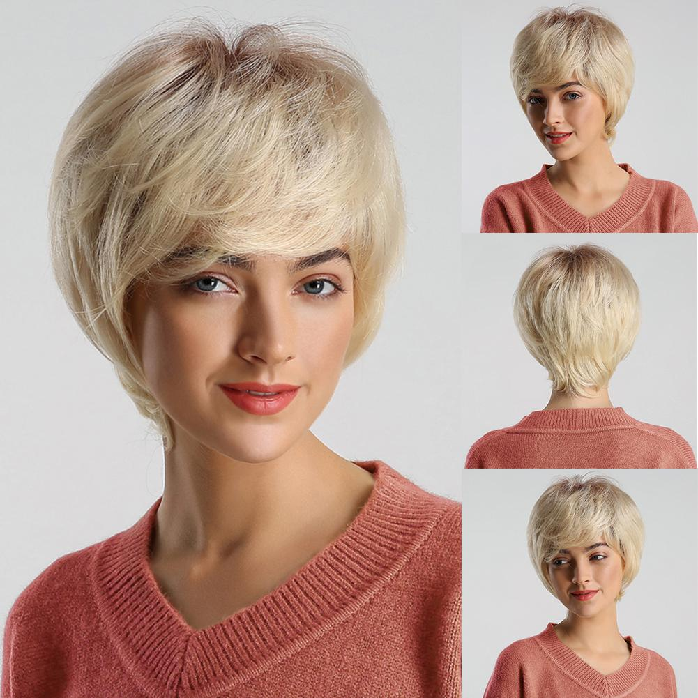 Fashion Golden Gray Short Wig  Women Gradient Color Party Cosplay Hairpiece Fashion Golden Gray Short Wig  Women Gradient Color Party Cosplay Hairpiece