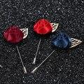 Ткани ручной работы цветок розы листьев брошь мужчины свадебные контакты лацкане/женщины броши/брошь/новое прибытие корейский высокой qualite ювелирные изделия