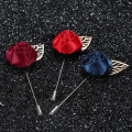 Handmade fabric rose flower leaf brooch men wedding lapel pins/women broaches/broche/ new arrival korean haute qualite jewelry