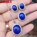 ZHHIRY Dlue Natural Lapis Lazuli Gem Anel Conjunto Brincos Colar de Pingente de Prata Esterlina 925 Conjuntos de Jóias Mulheres