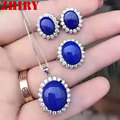 ZHHIRY Natural Dlue Lapis Lazuli Gem Set Ring Earrings Necklace Pendant 925 Sterling Silver Women Jewelry Sets