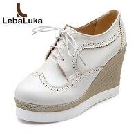 LebaLuka Vintage Women High Wedges Shoes Women Platform Cross Strap Trifle Pumps Solid Color Shoes Women Footwears Size 34 39