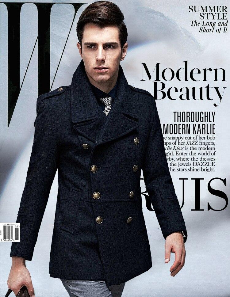 Online Shop Woolen Jacket Male Military Pea Coat Winter Double ...
